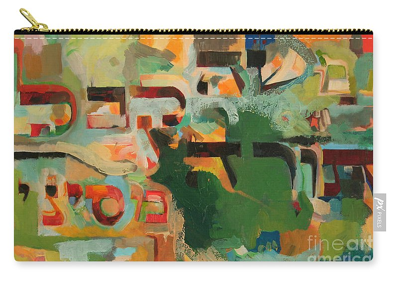 Jewish Art Carry-all Pouch featuring the painting Moshe Received The Torah From Sinai by David Baruch Wolk