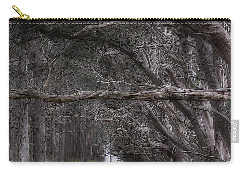 Landscape Carry-all Pouch featuring the photograph Moss Beach Trees 4191 by Karen W Meyer