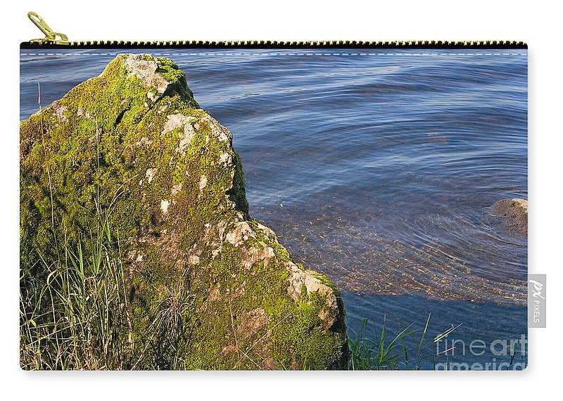 Landscape Carry-all Pouch featuring the photograph Moss Covered Rock And Ripples On The Water by Louise Heusinkveld