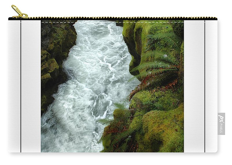 Rocks Carry-all Pouch featuring the photograph Mossy Rocks And Stream Poster by Mike Nellums