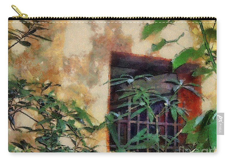 Moss Carry-all Pouch featuring the painting Mossy Wall by Paulette B Wright