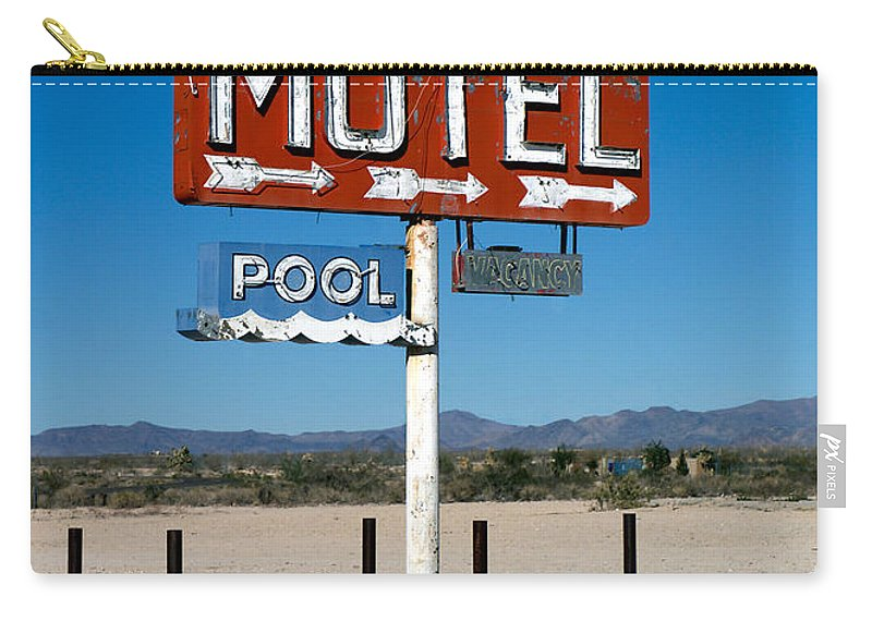 Route 66 Carry-all Pouch featuring the photograph Motel Sign On I-40 And Old Route 66 by Scott Sawyer