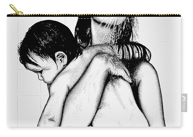 Mother And Child Carry-all Pouch featuring the drawing Mother And Child by Larry Lehman