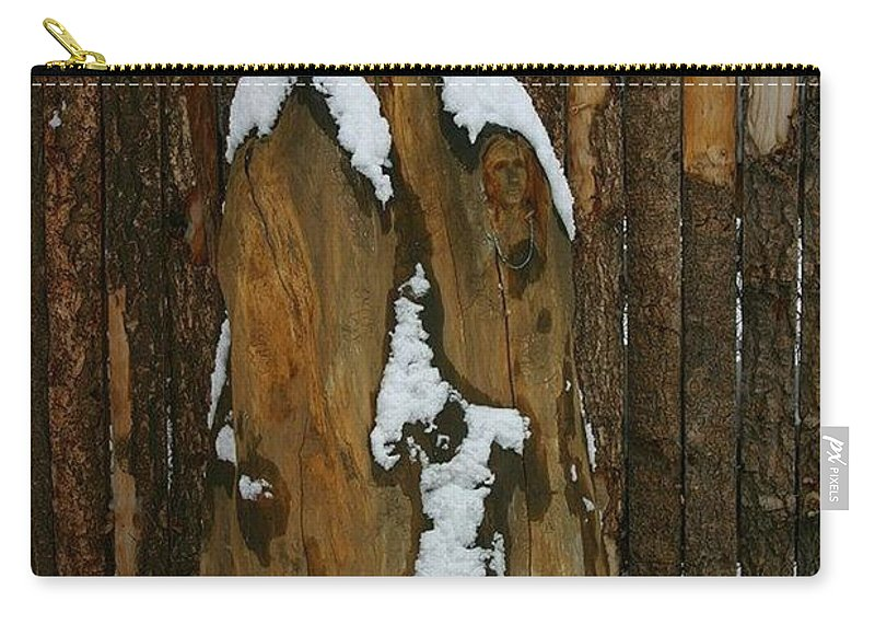 Wood Carving Carry-all Pouch featuring the photograph Mother And Child by Pattie Frost