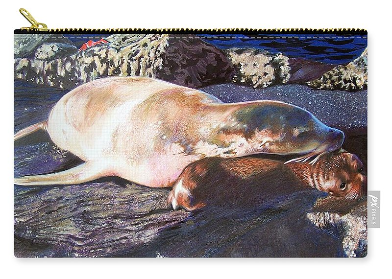 Sea Lion Carry-all Pouch featuring the mixed media Mother And Child Sea Lion by Constance Drescher