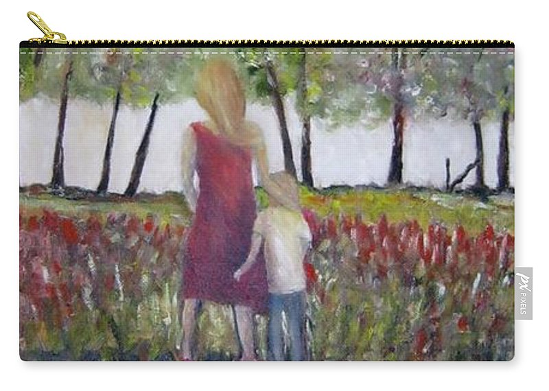 Mother And Son Carry-all Pouch featuring the painting Mother And Son by Marilyn McNish