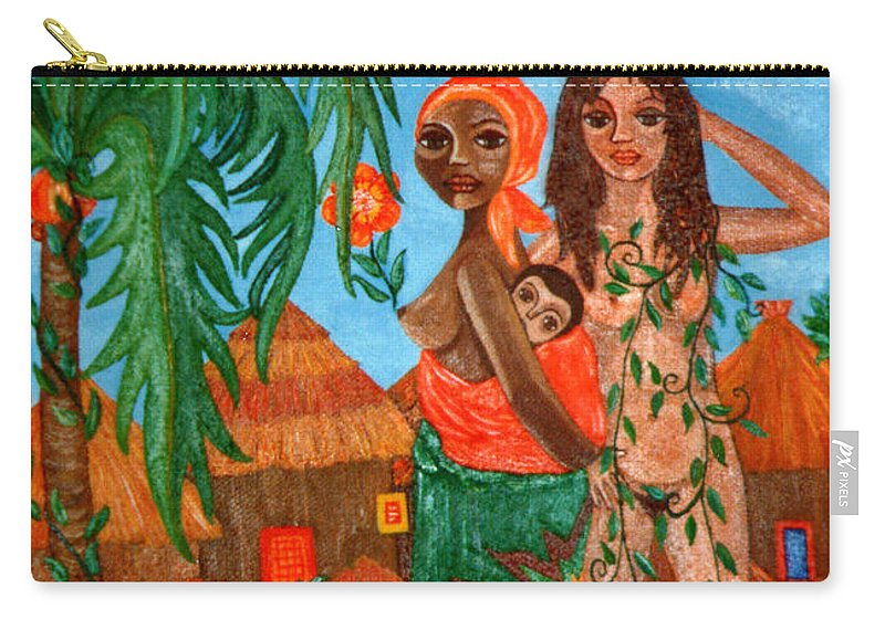 Mother Carry-all Pouch featuring the painting Mother Black Mother White by Madalena Lobao-Tello