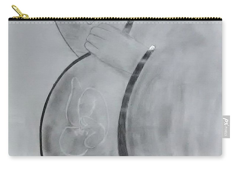 Carry-all Pouch featuring the drawing Mother by Pritam Modak