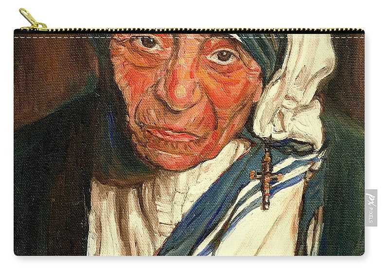 Mother Teresa Carry-all Pouch featuring the painting Mother Teresa by Carole Spandau
