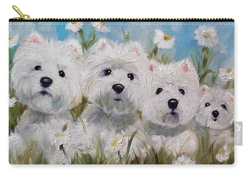 Westie Carry-all Pouch featuring the painting Mother's And Daughters by Mary Sparrow