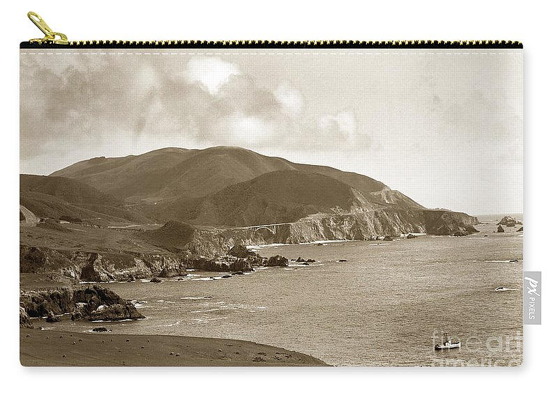 Motleys Landing Carry-all Pouch featuring the photograph Notleys Landing Big Sur Coast Circa 1933 by California Views Archives Mr Pat Hathaway Archives