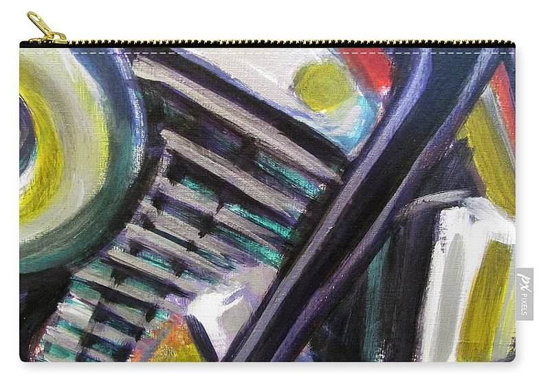 Motorcycle Carry-all Pouch featuring the painting Motorcycle Abstract Engine 1 by Anita Burgermeister