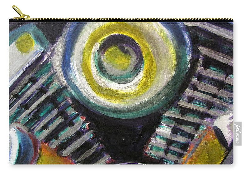 Motorcycle Carry-all Pouch featuring the painting Motorcycle Abstract Engine 2 by Anita Burgermeister