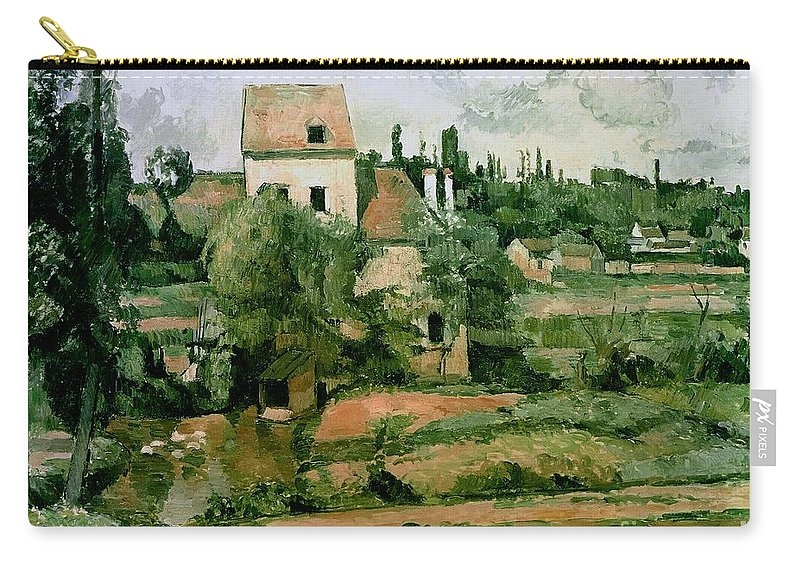 Carry-all Pouch featuring the painting Moulin De La Couleuvre At Pontoise by Paul Cezanne