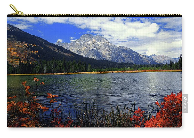 Mount Moran Carry-all Pouch featuring the photograph Mount Moran In The Fall by Raymond Salani III