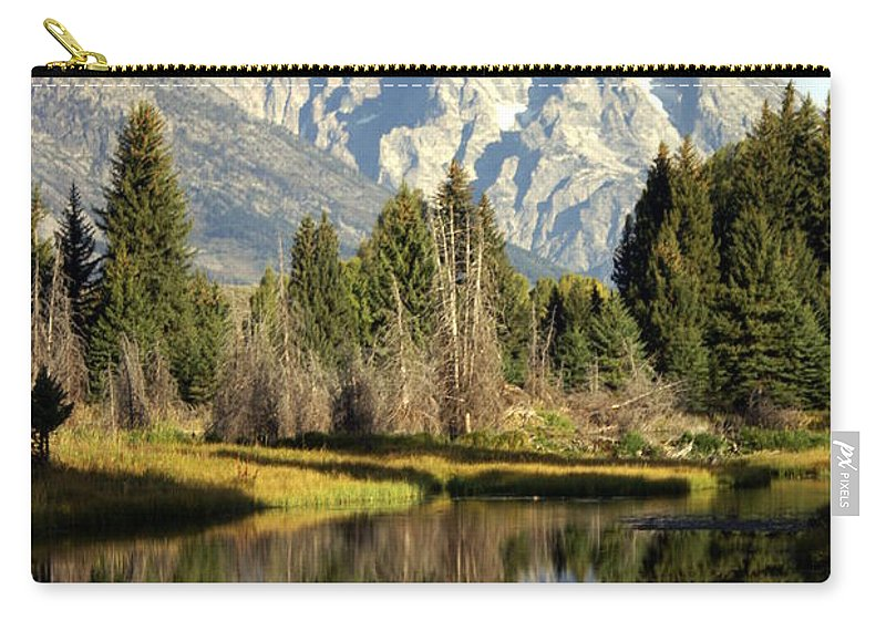 Grand Teton National Park Carry-all Pouch featuring the photograph Mount Moran Reflections by Marty Koch