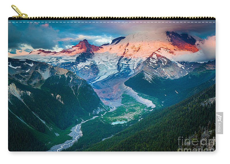America Carry-all Pouch featuring the photograph Mount Rainier And White River by Inge Johnsson