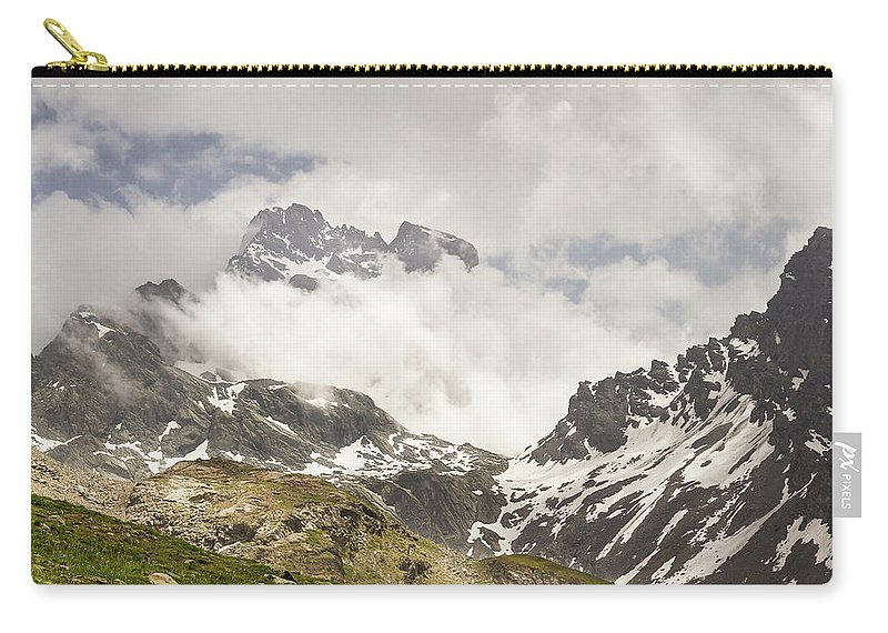 Mountain Landscape Carry-all Pouch featuring the photograph Mount Viso In The Clouds by Paul MAURICE