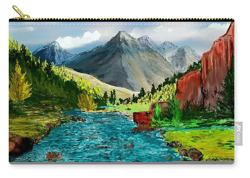 Digital Photograph Carry-all Pouch featuring the digital art Mountaian Scene by David Lane