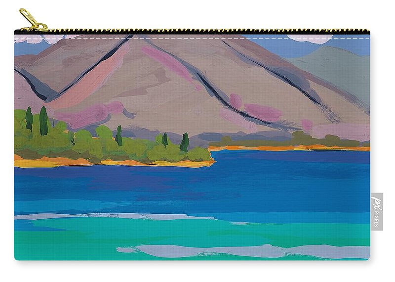 Hills Carry-all Pouch featuring the painting Mountain And Pines by Sarah Gillard