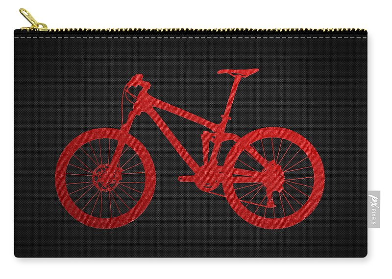 'two-wheel Drive' Fine Art Collection By Serge Averbukh Carry-all Pouch featuring the photograph Mountain Bike - Red on Black by Serge Averbukh