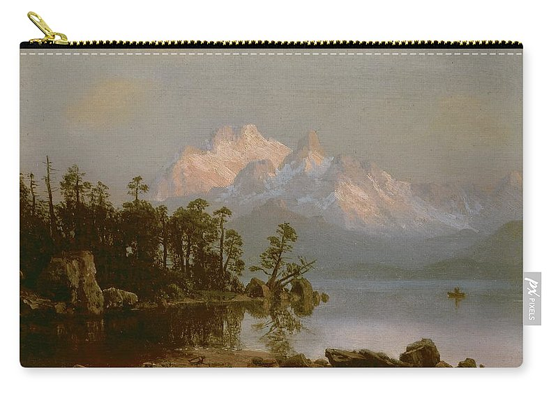 Bierstadt Carry-all Pouch featuring the painting Mountain Canoeing by Albert Bierstadt