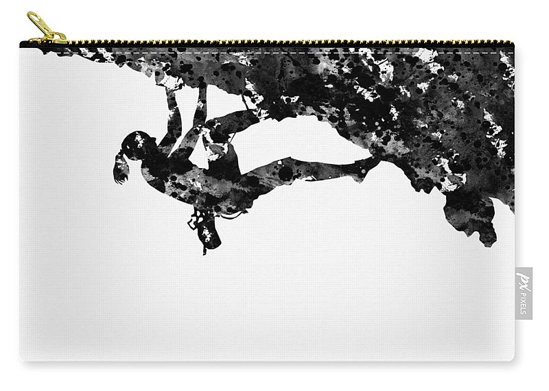 Mountain Climber Carry-all Pouch featuring the digital art Mountain Climber-black by Erzebet S