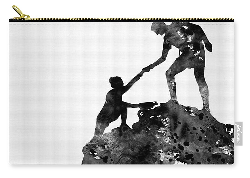 Mountain Climbers Carry-all Pouch featuring the digital art Mountain Climbers-black by Erzebet S