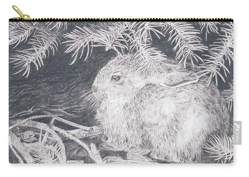 Rabbit Carry-all Pouch featuring the drawing Mountain Cottontail by Shevin Childers