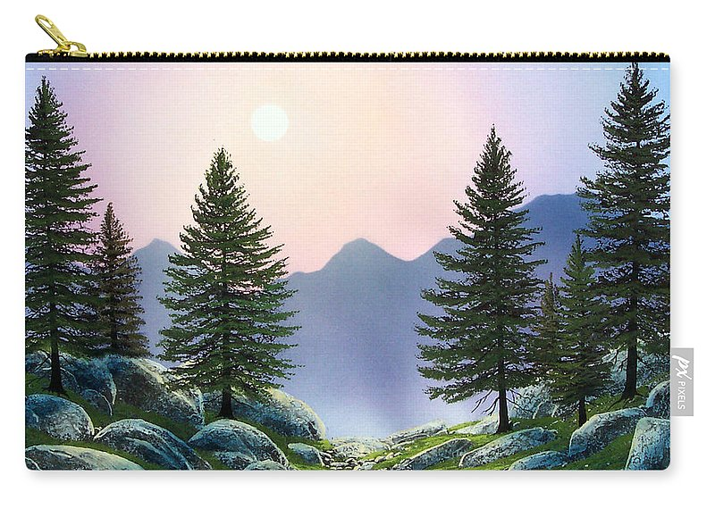 Landscape Carry-all Pouch featuring the painting Mountain Firs by Frank Wilson