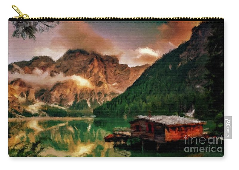 Landscape Carry-all Pouch featuring the painting Mountain Getaway by Sarah Kirk