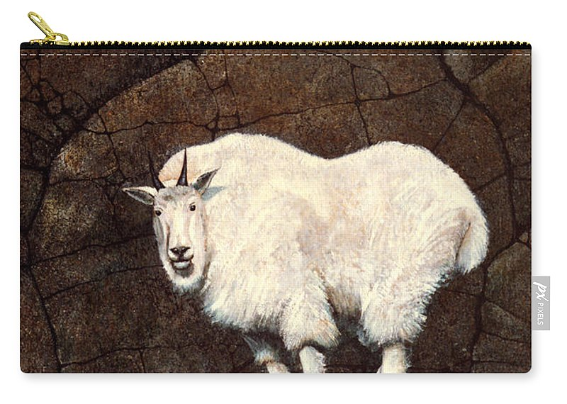 Wildlife Carry-all Pouch featuring the painting Mountain Goat by Frank Wilson