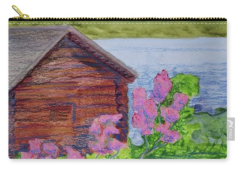 Great Sacandage Lake Carry-all Pouch featuring the painting Mountain Laurel By The Cabin by Bethany Lee