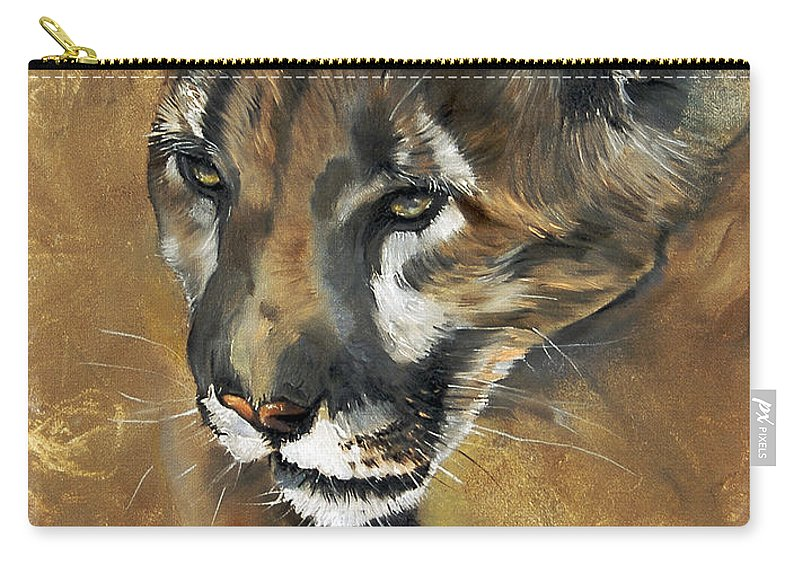 Southwest Art Carry-all Pouch featuring the painting Mountain Lion - Guardian Of The North by J W Baker