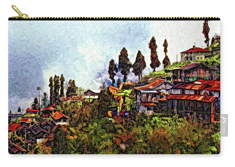Darjeeling Carry-all Pouch featuring the photograph Mountain Living Impasto by Steve Harrington