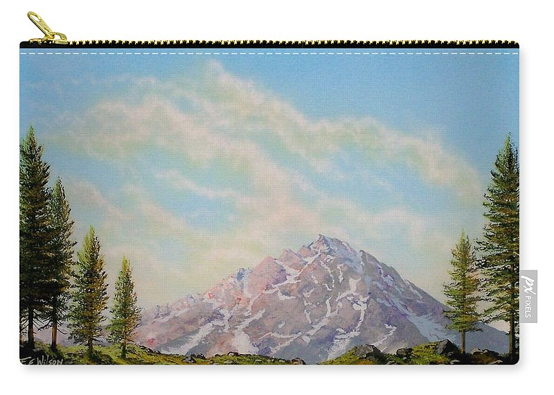 Wildflowers Carry-all Pouch featuring the painting Mountain Majesty by Frank Wilson