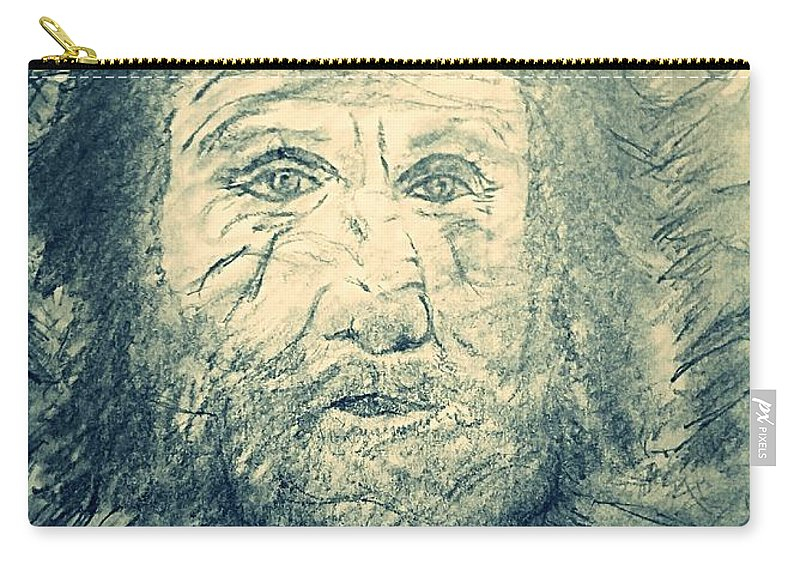 Mountains Carry-all Pouch featuring the drawing Mountain Man by Richard Howell