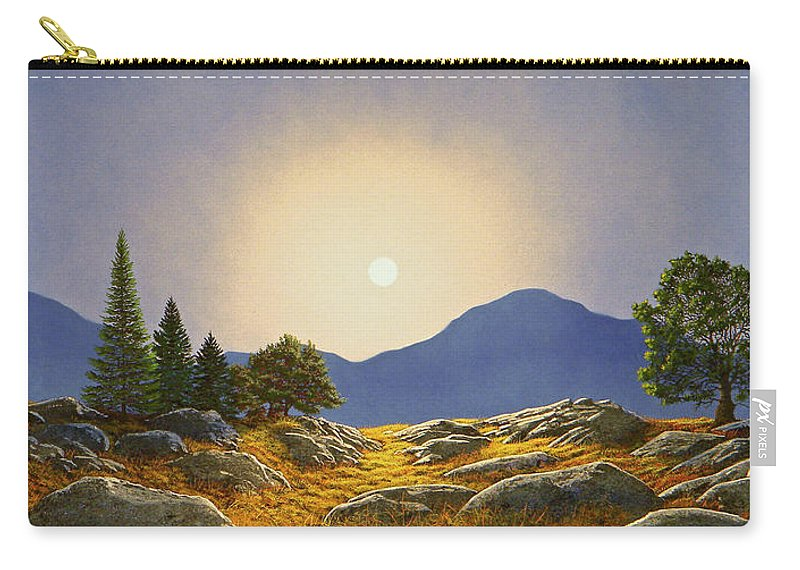 Mountain Meadow In Moonlight Carry-all Pouch featuring the painting Mountain Meadow In Moonlight by Frank Wilson