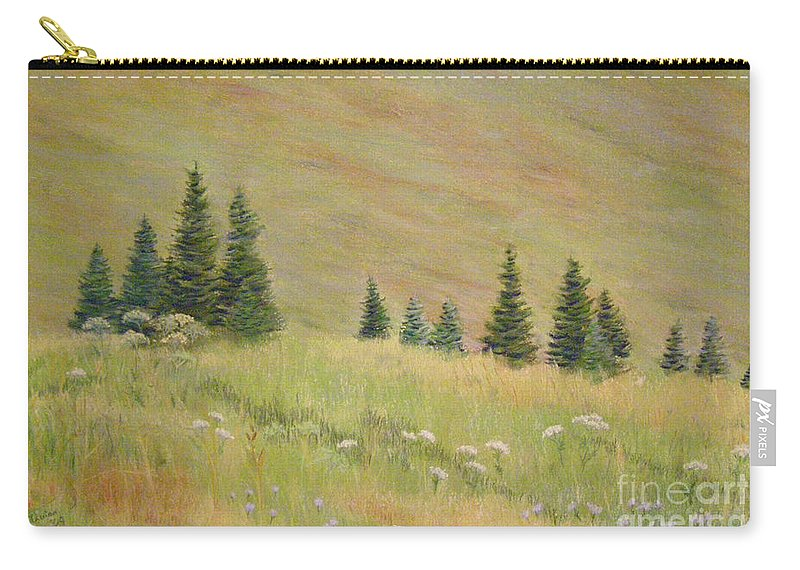 Landscape Carry-all Pouch featuring the painting Mountain Meadow by Lynn Quinn