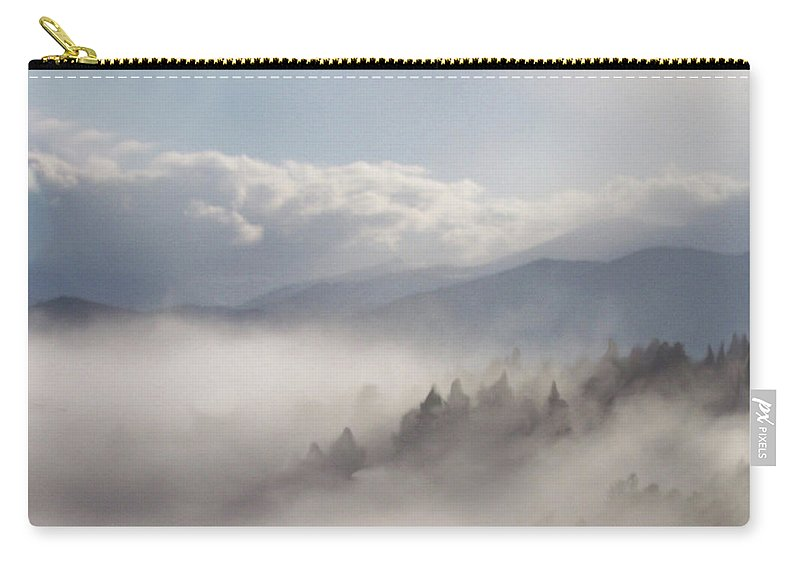 Mountain Carry-all Pouch featuring the mixed media Mountain Mist by Carol Cavalaris