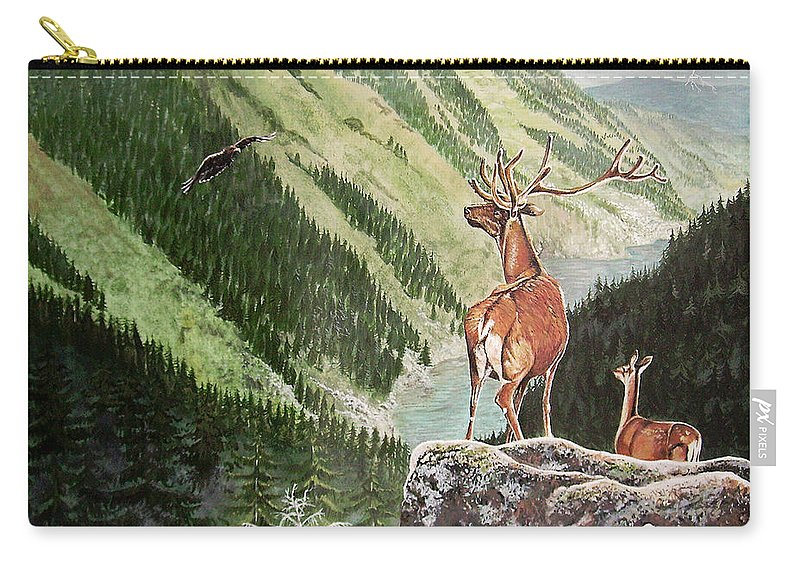 Deer Carry-all Pouch featuring the painting Mountain Morning by Arie Van der Wijst