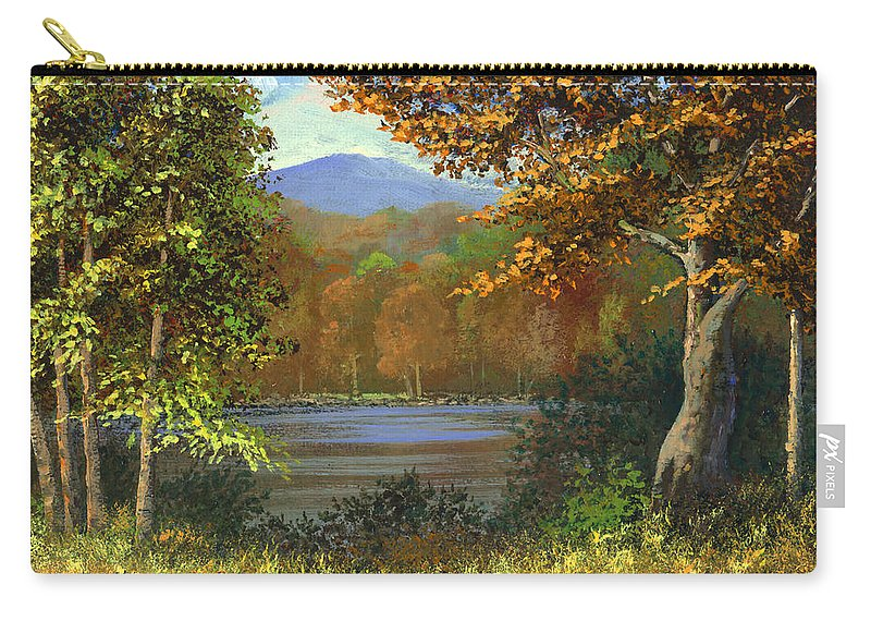 Landscape Carry-all Pouch featuring the painting Mountain Pond by Frank Wilson