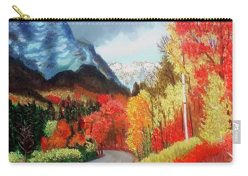 Mountain Carry-all Pouch featuring the painting Mountain Scene by Stan Hamilton