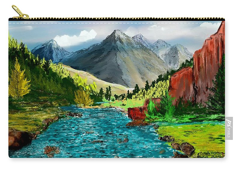 Nature Carry-all Pouch featuring the digital art Mountain Stream by David Lane