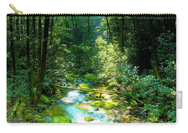 Mountain Stream Carry-all Pouch featuring the painting Mountain Stream by David Lee Thompson