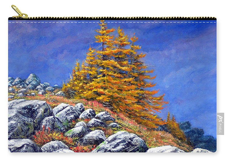 Mountains Carry-all Pouch featuring the painting Mountain Tamaracks by Frank Wilson