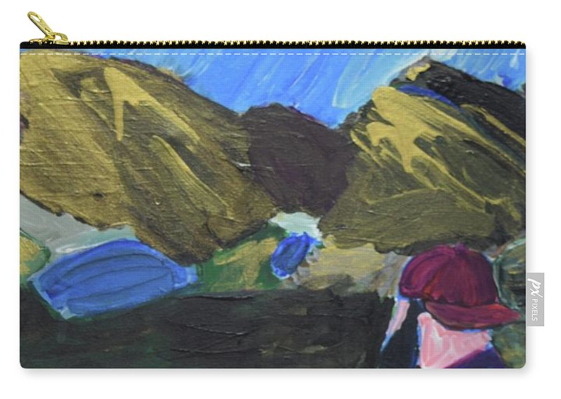 #hiking #art #fineart Carry-all Pouch featuring the painting Mountain Top by Aj Watson