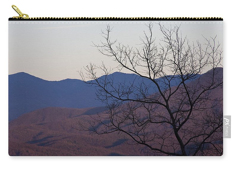 Tree Mountain Mountains Sun Sunset Sky Winter Smoky Park National Carry-all Pouch featuring the photograph Mountain Tree by Andrei Shliakhau
