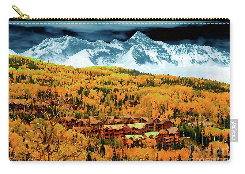 Art Carry-all Pouch featuring the painting Mountain Village Autumn by David Lee Thompson