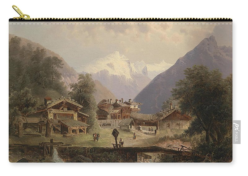 Emil Barbarini (1855-1930) Mountain Village With Alpine Panorama In The Background Carry-all Pouch featuring the painting Mountain Village With Alpine Panorama by MotionAge Designs